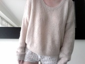 sweater,cream,white,knitwear,shorts,white lace shorts