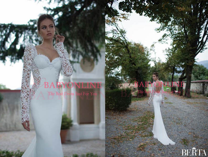 Aliexpress.com : buy modern sexy white sheath wedding dresses long lace sleeves backless sweep train spring garden berta's bridal gowns bo4142 from reliable gown pageant suppliers on suzhou babyonline dress store