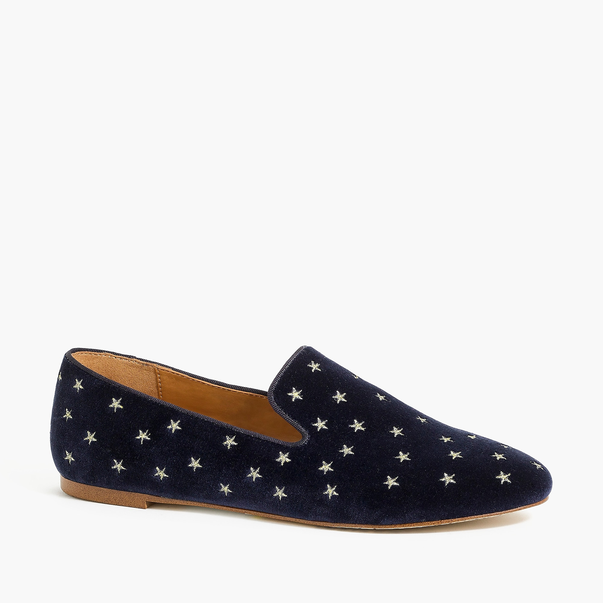 Velvet embroidered smoking loafers