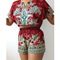 Red dahlia two piece shorts