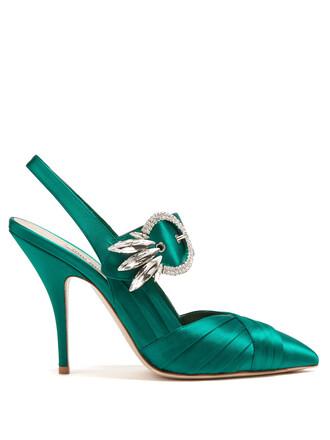 embellished pumps satin green shoes
