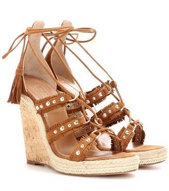 embellished espadrilles suede brown shoes