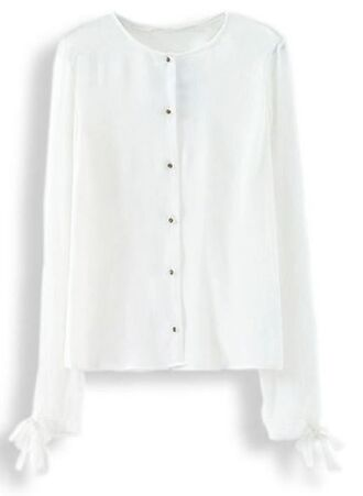white blouse blouse chiffon blouse white chiffon long sleeve blouse button front blouse tie cuffs www.ustrendy.com
