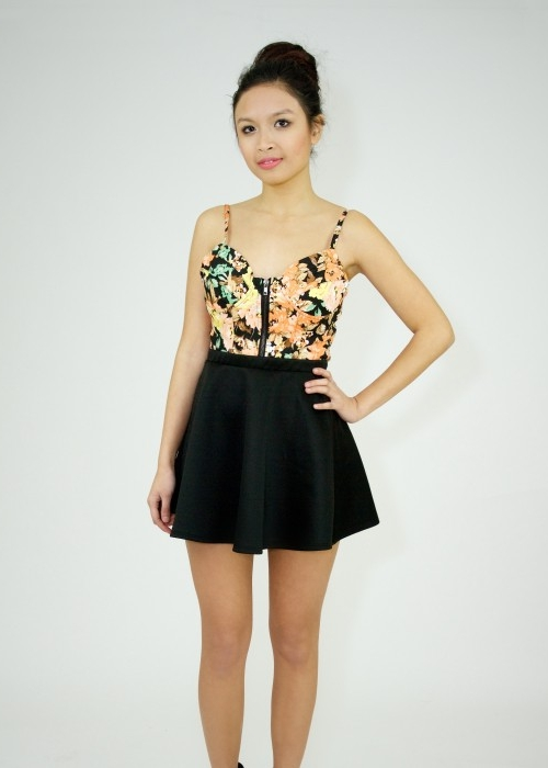 Black Print Top - Black Floral Bustier With Zipper | UsTrendy