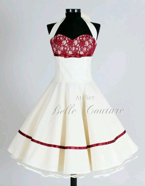 Dress red lace dress white summer halter neck swing for Vintage pin up wedding dresses