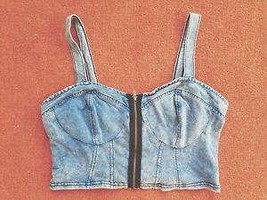 Topshop Crop Top Denim Look Zip Bralet Bandeau Size 14 Hipster Grunge | eBay