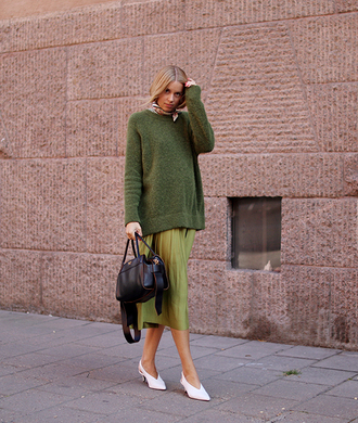 sweater skirt white shoes tumblr green green sweater midi skirt pleated pleated skirt shoes slingbacks bag black bag fall outfits fall colors