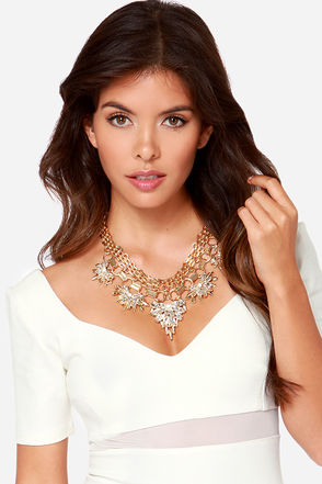 Chain Tracks Gold Rhinestone Statement Necklace