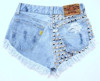 shorts jeans studded shorts high waisted levi levis shorts dress underwear skirt high heels light blue