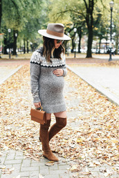crystalin marie,blogger,dress,shoes,hat,bag,maternity,fall outfits,thigh high boots,boots,brown boots,over the knee boots