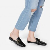 shoes,black mules,mules,leather mules,leather,flat sandals,charles and keith,fall accessories