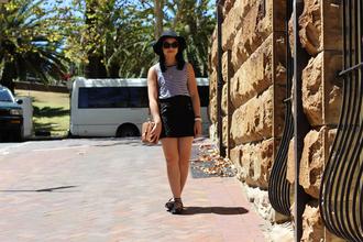 an odd girl t-shirt skirt shoes bag jewels hat sunglasses