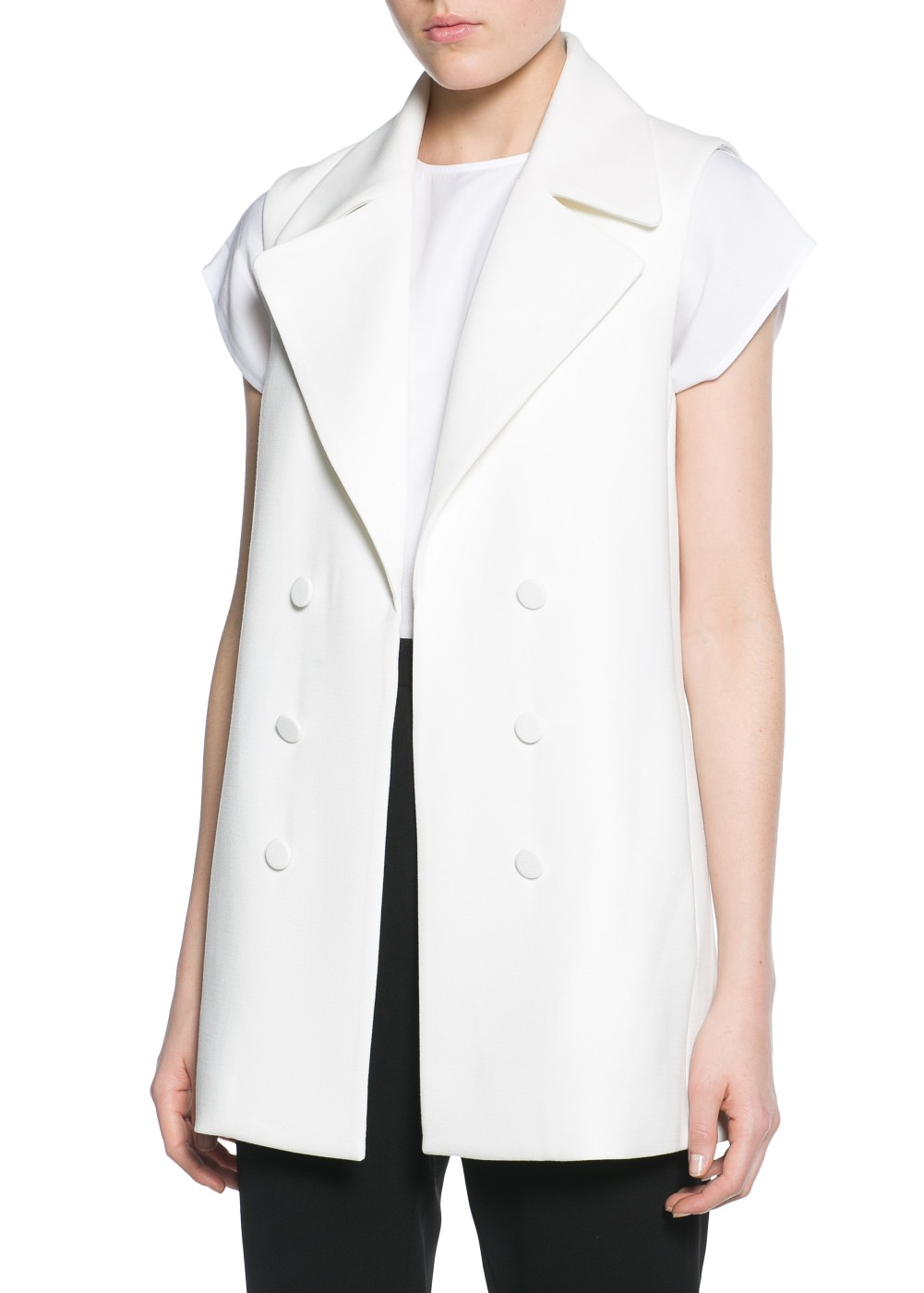 Wide lapel gilet -  							  							Women - 							MANGO