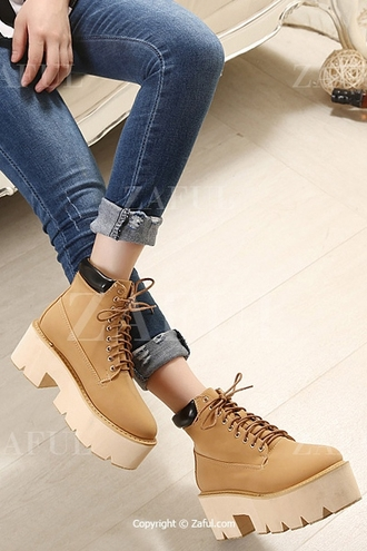 shoes boots lace up boots timberland platform shoes platform boots zaful back to school hippie hipster grunge indie tumblr instagram alternative urban school uniform shoes black wedges platform lace up boots lace up