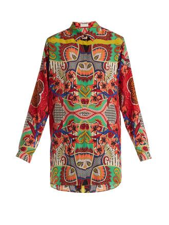 blouse print silk paisley pink top