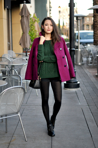 hapa time blogger forest green cable knit pea coat black shorts coat sweater shorts tights shoes bag jewels fall colors