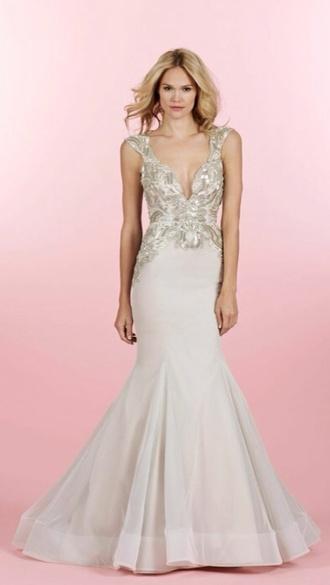 dress beige dress long dress beige long gown mermaid dress sparkle plunge neckline hayley paige