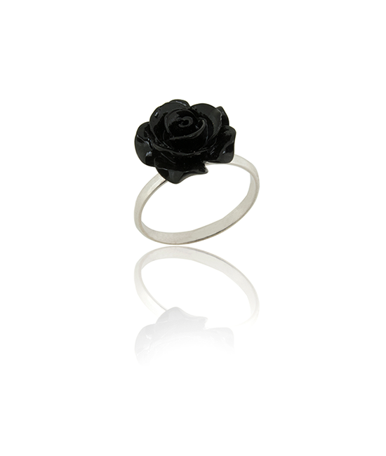 Black Rose Ring | Silver Ring | Silver Jewellery | Stack Rings | BOHEM