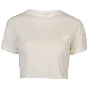 Glamorous Women's Crop Turn Cuff T-Shirt With Pocket - Cream 			Womens Clothing | TheHut.com