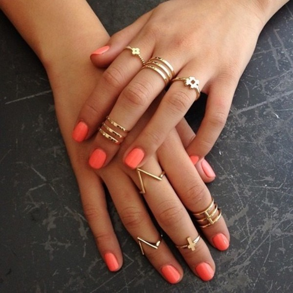 jewels orange coral ring jewelry gold cross nail polish ebonylace.storenvy knuckle ring nail accessories