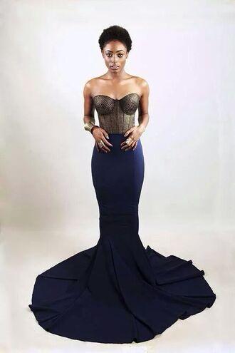 dress gown long prom dress long dress prom dress strapless navy blue dress bustier