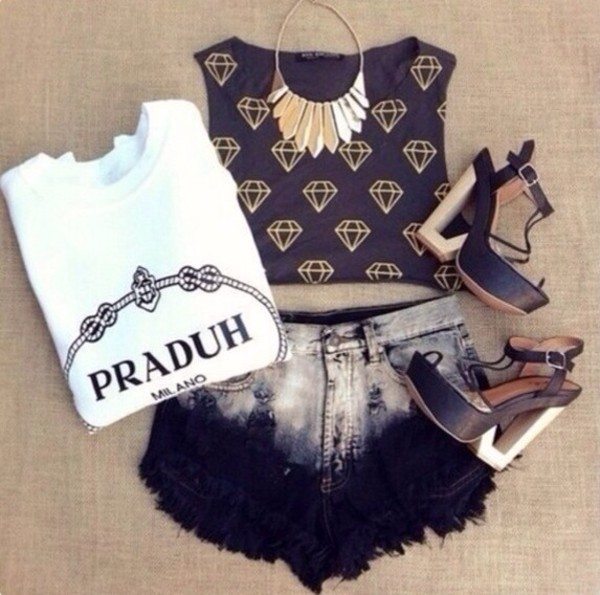 shorts fashion summer outfits High waisted shorts dip dyed sweater t-shirt jewels tank top