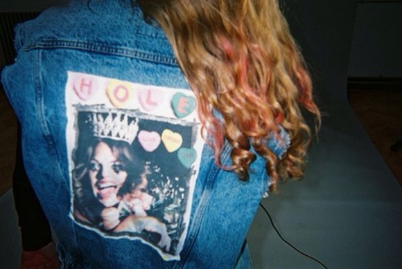 denim grunge indie coat hole sky ferreira denim jacket vintage coat