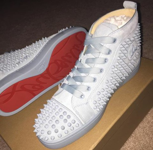 fe083171e3e3 shoes louis vuitton white red bottom sneakers with spikes my new babies