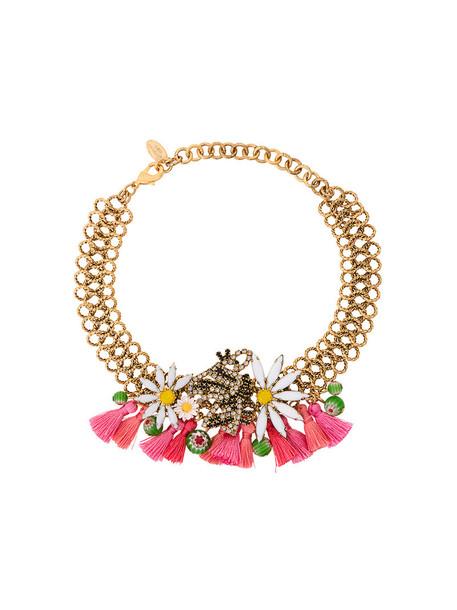 Elizabeth Cole tassel women gold grey metallic jewels