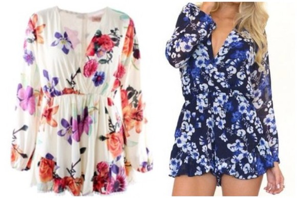 long sleeved jumpsuit chiffon v-neck floral