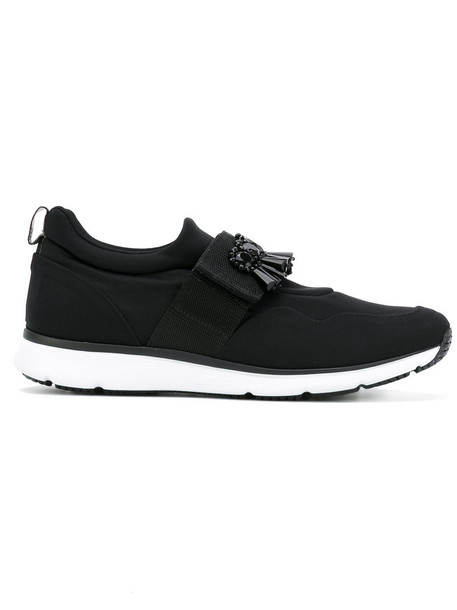 Hogan women embellished sneakers leather black shoes