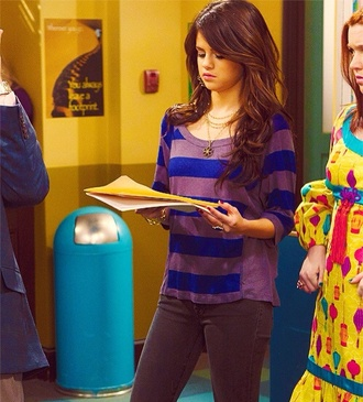 selena gomez striped shirt purple gray sweater