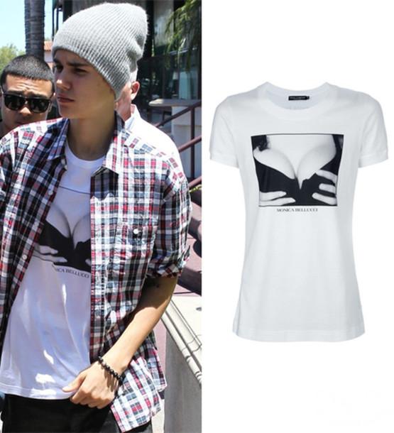 Shirt monica bellucci justin bieber dolce and gabbana for Justin bieber black and white shirt