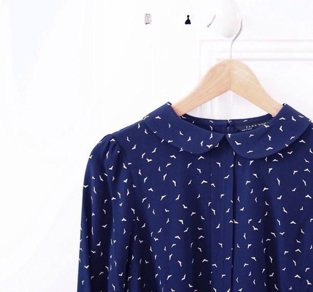 blouse top zara birds birds collar saddle