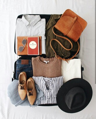 bag felt hat fedora sweater brown bag tumblr shoes fall colors fall outfits crossbody bag weekend escape travel suitcase striped shirt
