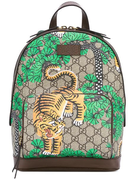 gucci tiger tiger print backpack leather print bag