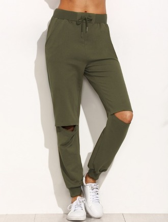 pants girl girly girly wishlist olive green joggers joggers pants ripped knee hollow sweatpants