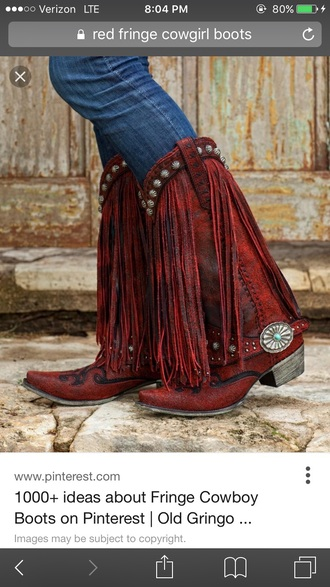 shoes red cowgirl boot fringe shoes cowgirl cowboy boots red boots