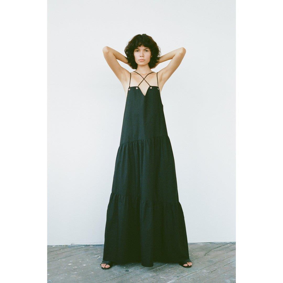 Cross Front Maxi Dress - Black Cotton