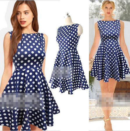 New 2014 dot casual dresses women polka dot one-piece dress 707 | Amazing Shoes UK