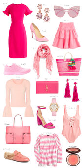 ivory lane,blogger,dress,jewels,sunglasses,skirt,shoes,scarf,bag,top,swimwear,shirt,all pink wishlist,all pink everything,pink dress,pink  skirt,ysl bag,clutch,pink sunglasses,pink blouse,pink bag