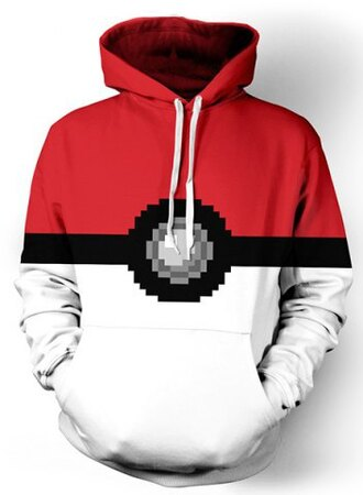 sweater fashion cool anime red pokemon hoodie geek long sleeves