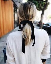 hair accessory,tumblr,hair bow,hair,ponytail,blonde hair,hairstyles,shirt,white shirt