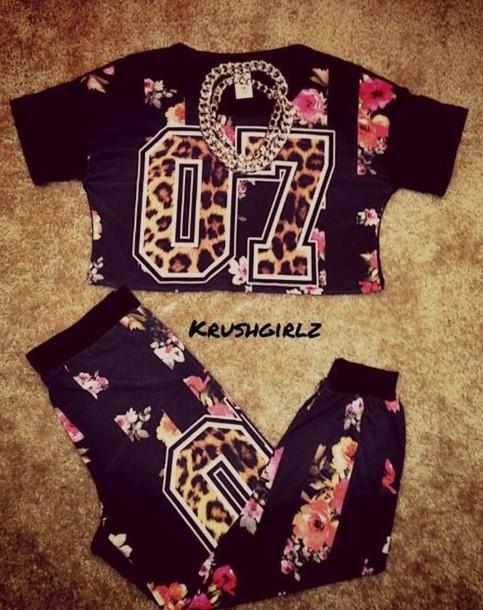 jumpsuit joggers sweater dope leopard print varsity floral chain krushgirlz bag jeans pants joggers two-piece shirt