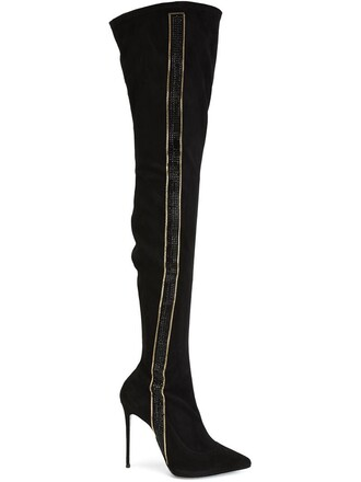 high embellished boots thigh high boots black shoes