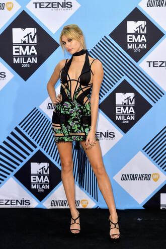 dress plunge v neck sandals hailey baldwin mini dress cut-out dress mtv ema mtv ema awards