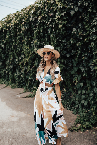 top matching set printed pants tumblr crop tops co ord pants wide-leg pants round sunglasses sun hat hat