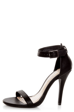 Anne Michelle Enzo 01N Black Ankle Strap Sandal Heels