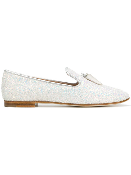 glitter women loafers leather white shoes