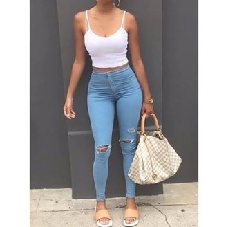 jeans light blue jeans high waisted jeans ankle length jeans